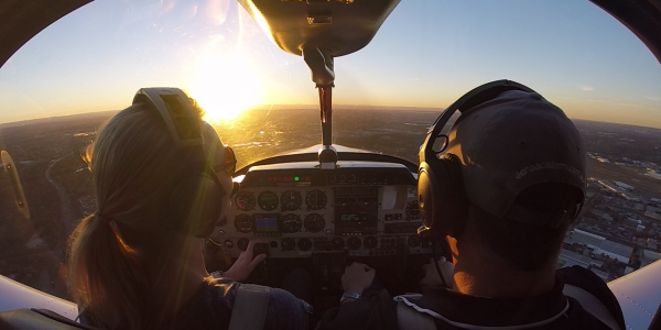 Flight training over Sydney at sunset