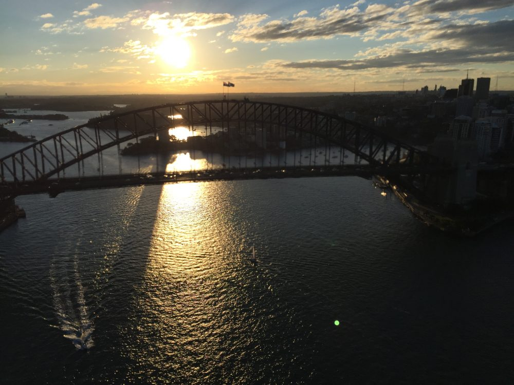 Sydney Harbour Bridge at dusk - twilight luxury scenic flight
